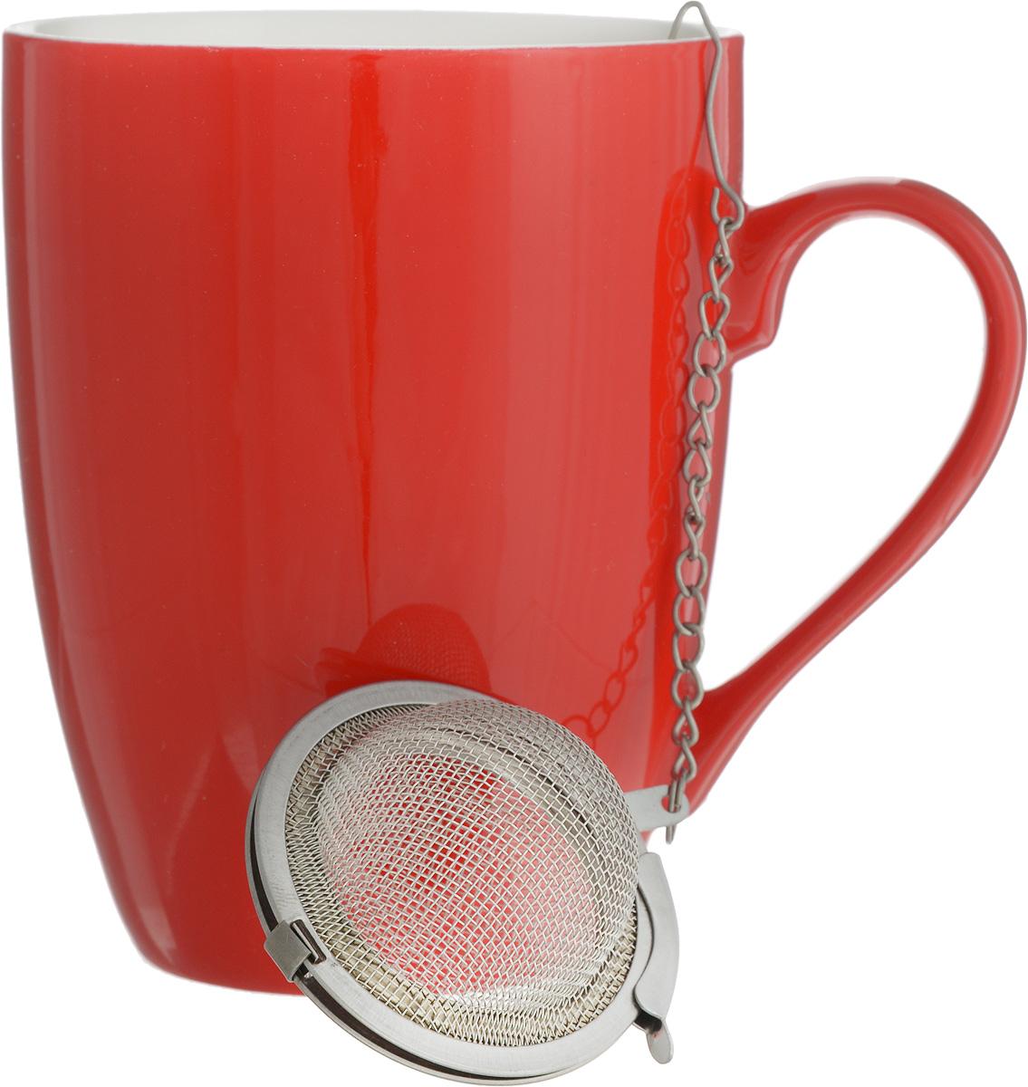 Кружка Доляна Радуга, с ситечком, цвет: красный, белый, 300 мл699261_красный, белыйКружка Доляна Радуга изготовлена из высококачественной керамики. Изделие оформлено ярким дизайном и покрыто превосходной сверкающей глазурью. Изысканная кружка прекрасно оформит стол к чаепитию и станет его неизменным атрибутом.В комплект входит ситечко для заварки.Диаметр кружки (по верхнему краю): 8 см.Высота кружки: 10,5 см.Диаметр ситечка: 4,5 см.