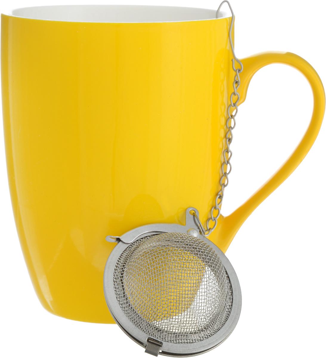 Кружка Доляна Радуга, с ситечком, цвет: желтый, белый, 300 мл