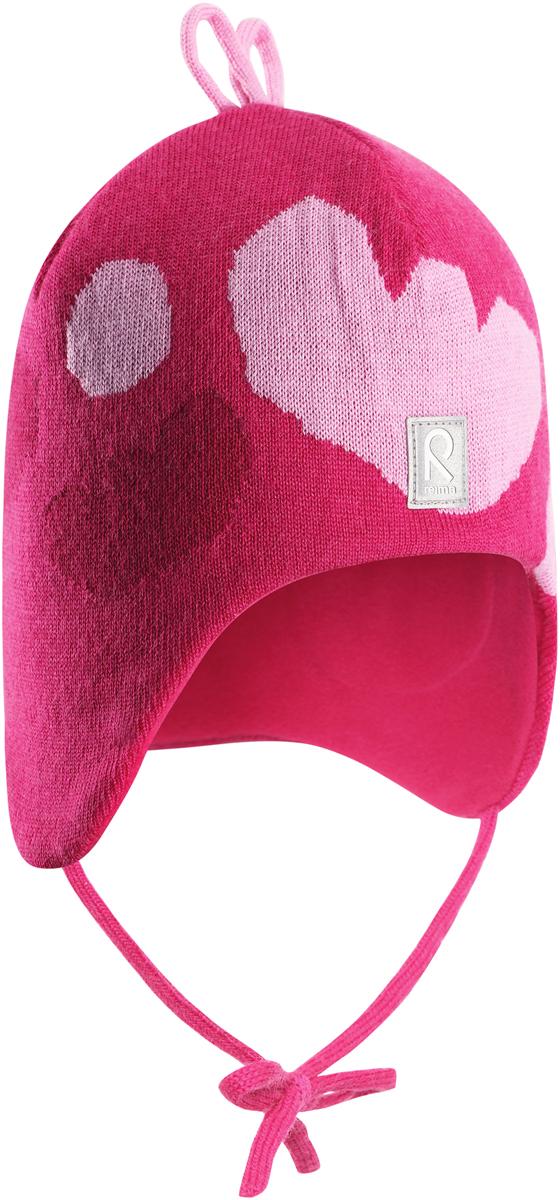 Фото Шапка-бини для девочки Reima Vatukka, цвет: розовый. 5184243560. Размер 52