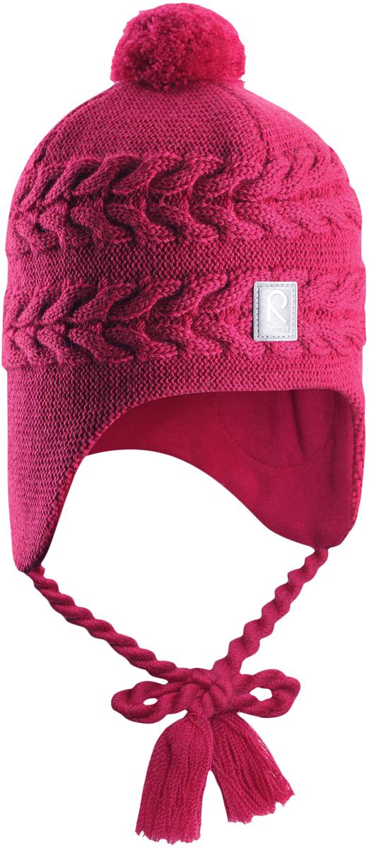Шапка-бини для девочки Reima Hiutale, цвет: фуксия. 5184283920. Размер 505184283920Красивая шерстяная шапка для малышей Reima станет отличным вариантом на зимние холода. Шапка связана из мериносовой шерсти и снабжена уютной и мягкой трикотажной подкладкой. Ветронепроницаемые вставки защищают ушки в ветреную погоду, а завязки-косички, структурная вязка и веселый помпон завершают образ.