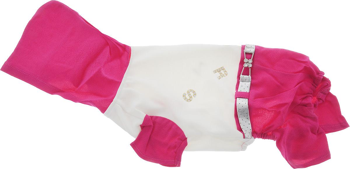 Комбинезон для собак Pret-a-Pet, цвет: белый, розовый. Размер MMOS-019-M_белый, розовыйКомбинезон для собак Pret-a-Pet отлично подойдет для прогулок в сухую погоду или для дома. Модель выполнена из вискозы с добавлением полиакрила (вискоза 95%, полиакрил 5%). Комбинезон оснащен несъемным остроконечным капюшоном. Изделие имеет длинные брючины и короткие рукава для передних лапок. Задняя часть дополнена мягкой резинкой. В районе холки имеется прорезь для крепления поводка. Комбинезон застегивается на животике на 3 металлические кнопки. Модель украшена декоративным ремешком. Декор в виде блестящих букв добавляет оригинальности.Благодаря такому комбинезону вашему питомцу будет комфортно наслаждаться прогулкой или играми дома.Длина по спинке: 28 см.Обхват груди: 35 см.Обхват шеи: 28 см.