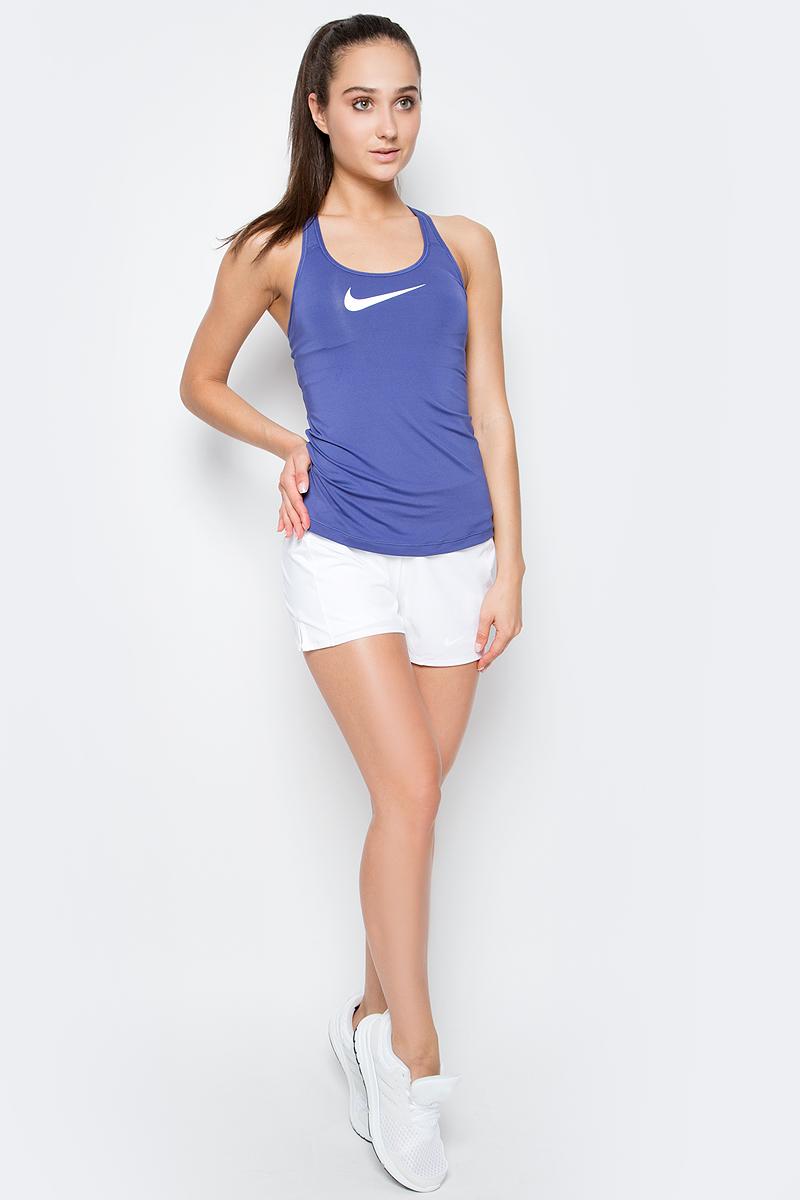 Майка для фитнеса женская Nike Flex Swoosh Tank, цвет: фиолетовый. 648569-508. Размер M (44/46)648569-508Стильная женская майка Nike Flex Swoosh Tank представляет собой модель с вшитым бюстгальтером со средним уровнем поддержки. Майка выполнена из полиэстера с дополнением эластана с применением технологии Dri-Fit. Материал Nike Dri-Fit отводит влагу и быстро высыхает, обеспечивая комфорт во время занятия спортом. Вшитый бюстгальтер-топ обеспечивает поддержку и формирует силуэт. Вшитые стабилизаторы обеспечивают дополнительную поддержку. Эластичный кант бюстгальтера создает дополнительную фиксацию. Т-образная спинка обеспечивает свободу движений. Спереди майка оформлена термоаппликацией в виде логотипа Nike. Такая модель подарит вам комфорт во время занятий спортом и активного отдыха.
