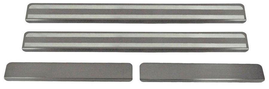 Накладки на пороги Автоброня, для Kia Rio 2011-2016, 4 шт. NPKIRIO013 накладки на пороги rival для kia rio 2011 4 шт