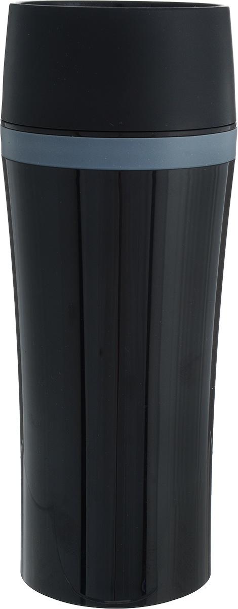 """Термокружка Emsa """"Travel Mug Fun"""" - это идеальный попутчик в дороге - не важно, по пути ли на работу, в школу или во время похода по магазинам. Вакуумная кружка на 100% герметична. Корпус выполнен из высококачественного пищевого пластика и имеет двойные стенки, благодаря чему температура жидкости сохраняется долгое время. Термокружка открывается нажатием кнопки, можно пить из нее с любой стороны. Пробка разбирается и превосходно моется. Дно кружки выполнено из силикона, что препятствует скольжению. Кружка легкая и не занимает много места. Можно мыть в посудомоечной машине. Диаметр кружки по верхнему краю: 8 см.Диаметр дна кружки: 7 см.Высота кружки: 20 см."""