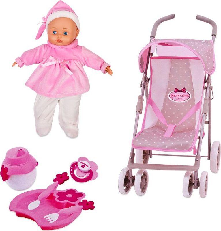 Bambolina Игровой набор с куклой Прогулочная коляска bambolina игровой набор с куклой пупс в ванночке