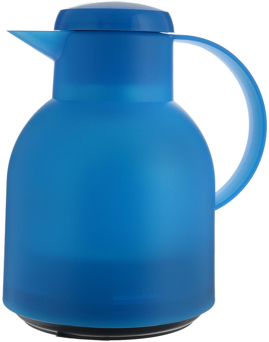 Термос-чайник Emsa Samba, цвет: лазурный, 1 л509819Удобный термос-чайник Emsa Samba станет незаменимым аксессуаром в поездках, выездах на природу, дачу, рыбалку или пикник. Корпус кувшина выполнен из высококачественного пластика, а колба - из стекла. На крышке изделия имеется кнопка Quick Press, с помощью которой вы сможете легко открыть герметичный клапан, а удобные носик и ручка позволят аккуратно разлить содержимое по стаканам. Пробка легко разбирается и превосходно моется.Линейка термосов Emsa Samba славится элегантным дизайном, разнообразием цветов, высококачественной вакуумной индийской стеклянной колбой с серебряным напылением, сохраняющей ваш напиток горячим до 12 часов и холодным до 24 часов. 100 % герметичность сохранит аромат вашего напитка и не допустит в него посторонние запахи.Высота термоса: 21 см.Диаметр (по верхнему краю): 7 см.