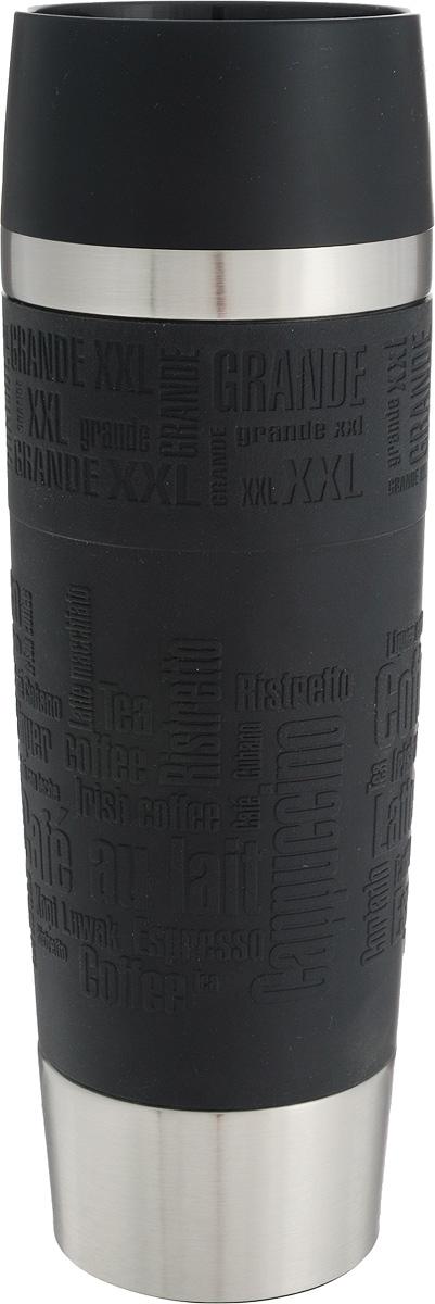Термокружка Emsa Travel Mug Grande, цвет: черный, стальной, 500 мл515615Термокружка Emsa Travel Mug Grande - это идеальный попутчик в дороге - не важно, по пути ли на работу, в школу или во время похода по магазинам. Вакуумная кружка на 100 % герметична. Кружка имеет двустенную вакуумную колбу из нержавеющей стали, благодаря чему температура жидкости сохраняется долгое время. Кружку удобно держать благодаря покрытию Soft Touch из силикона. Изделие открывается нажатием кнопки. Пробка разбирается и превосходно моется. Дно кружки выполнено из силикона, что препятствует скольжению.Диаметр кружки по верхнему краю: 7,5 см.Диаметр дна кружки: 6,5 см.Высота кружки: 24 см.Сохранение холодной температуры: 12 ч.Сохранение горячей температуры: 6 ч.