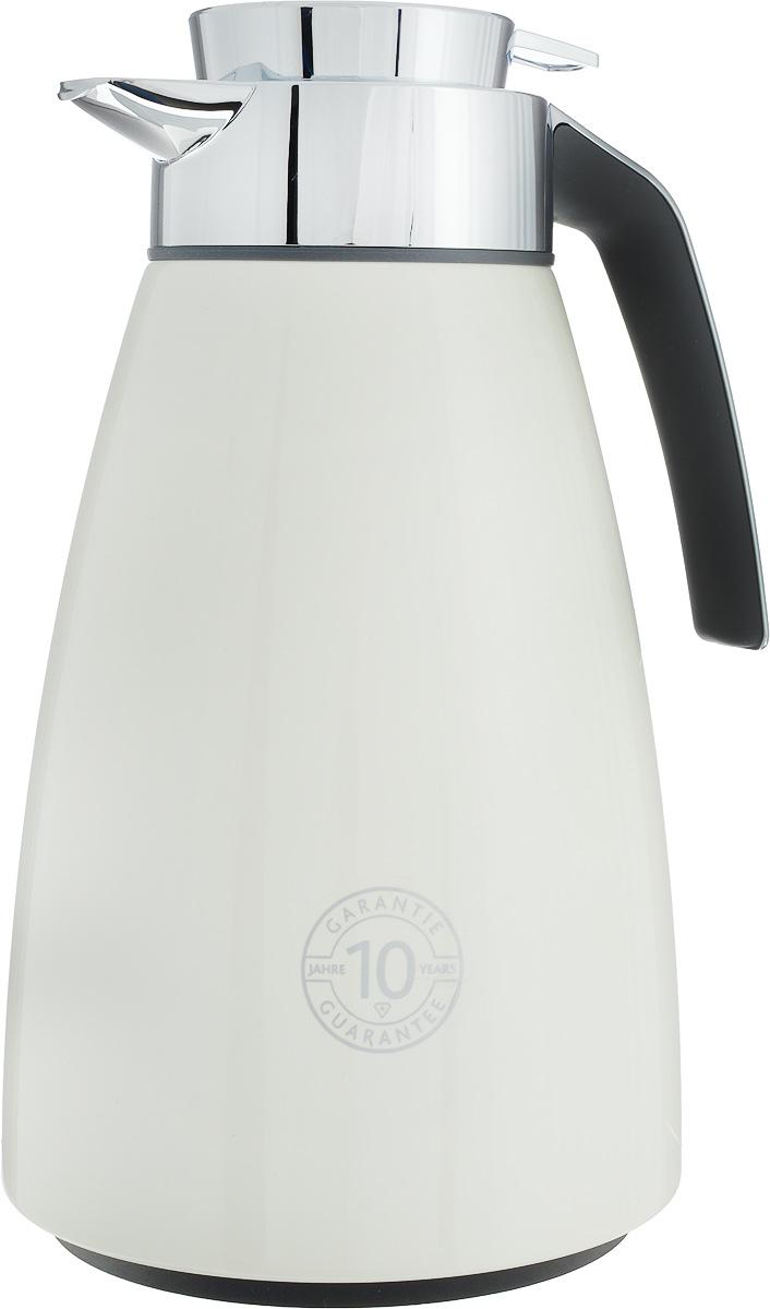 Термос-чайник Emsa Bell, цвет: кремовый, серый, 1,5 л513816Удобный термос-чайник Emsa Bell станет незаменимым аксессуаром в поездках, выездах на природу, дачу, рыбалку или пикник. Корпус изделия выполнен из высококачественной нержавеющей стали и ABS пластика, а колба - из стекла. На крышке изделия имеется кнопка, с помощью которой вы сможете легко открыть герметичный клапан, а удобные носик и ручка позволят аккуратно разлить содержимое по стаканам. Время удержания тепла: 12 ч.Время удержания холода: 24 ч.Диаметр по верхнему краю: 6,5 см.Высота (с учетом крышки): 28 см.