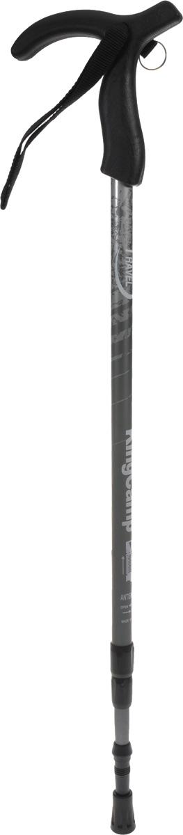 Палка треккинговая KingCamp Travel, телескопическая, цвет: черныйУТ-00002182Телескопическая трехсекционная треккинговая палка KingCamp Travel предназанчена для использования в спортивном горном туризме и альпинизме.Телескопическая треккинговая палка способствует оптимальному распределению нагрузки по большему числу мышц. Она позволяет разгрузить суставы и мускулатуру нижней части тела путем переноса нагрузок с ног на кистевые, локтевые и плечевые суставы. Также палка служит дополнительной опорой, которая увеличивает устойчивость.Особенности Треккинговой палки KingCamp Travel:3 коленаЗамковая поворотная системаСистема AntishockТ-образная анатомическая ручкаШирокий ременьНасадка 5 смСтальной наконечник. Характеристики: Материал: алюминий, пластик. Максимальная длина: 135 см. Минимальная длина:67 см. Вес:320 г. Размер упаковки: 87 см х 14 см х 4 см.