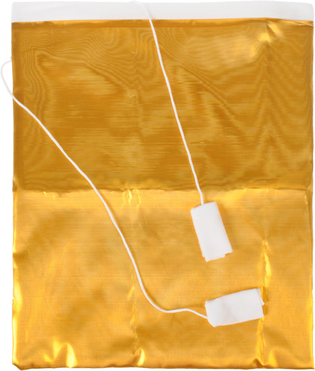 Мешок для подарков Eva, цвет: золотистый, белый, 37 х 50 смА101Мешок Eva, выполненный из полиэстера, предназначен для подарков. Такой аксессуар особенно актуален в преддверии новогодних праздников.