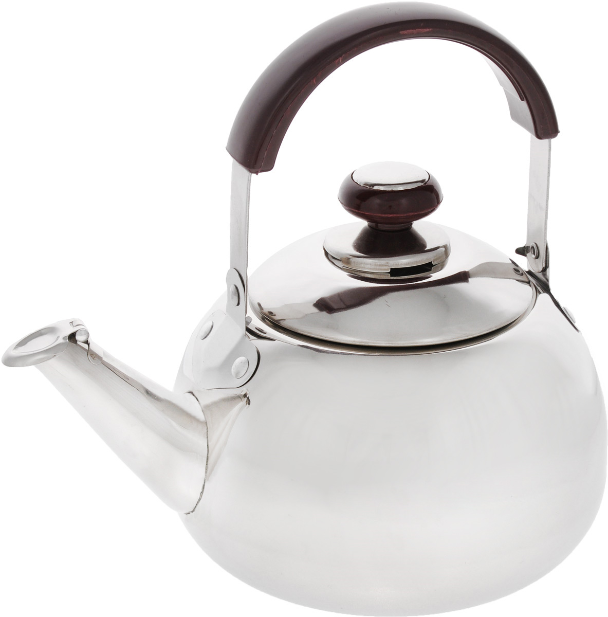 Чайник Mayer & Boch, со свистком, 2 л. 25222522Чайник Mayer & Boch изготовлен из высококачественной нержавеющей стали. Он оснащен подвижной ручкой из стали с бакелитовой накладкой, что делает использование чайника очень удобным и безопасным. Крышка снабжена свистком, позволяя контролировать процесс подогрева или кипячения воды.Эстетичный и функциональный чайник будет оригинально смотреться в любом интерьере.Подходит для газовых, электрических и стеклокерамических плит. Можно мыть в посудомоечной машине.Высота чайника (без учета ручки и крышки): 11,5 см.Высота чайника (с учетом ручки и крышки): 21 см.Диаметр чайника (по верхнему краю): 10 см.Диаметр основания: 14 см.