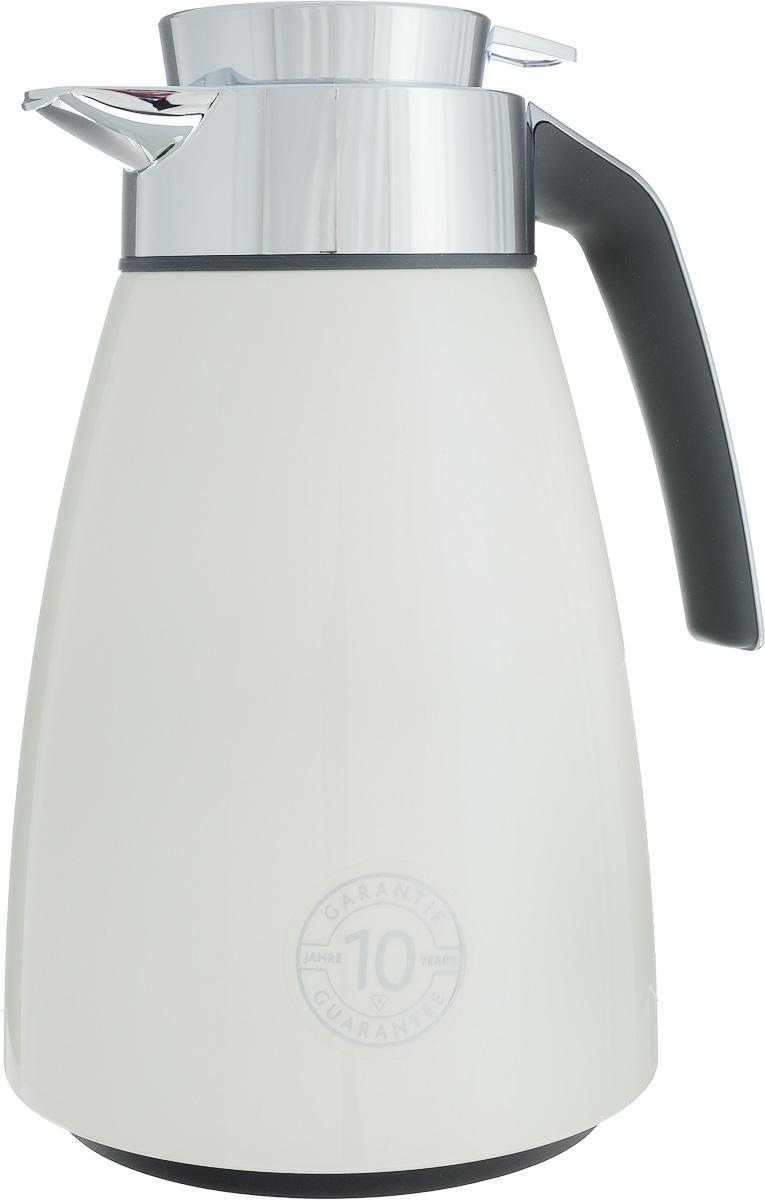 Термос-чайник Emsa Bell, цвет: кремовый, серый, 1 л513811Удобный термос-чайник Emsa Bell станет незаменимым аксессуаром в поездках, выездах на природу, дачу, рыбалку или пикник. Корпус изделия выполнен из высококачественной нержавеющей стали и ABS пластика, а колба - из стекла. На крышке изделия имеется кнопка, с помощью которой вы сможете легко открыть герметичный клапан, а удобные носик и ручка позволят аккуратно разлить содержимое по стаканам. Время удержания тепла: 12 ч.Время удержания холода: 24 ч.Диаметр по верхнему краю: 6,5 см.Высота (с учетом крышки): 25 см.