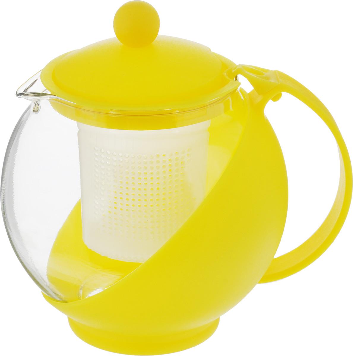 Чайник заварочный Wellberg Aqual, с фильтром, цвет: прозрачный, желтый, 750 мл325 WB_желтыйЗаварочный чайник Wellberg Aqual изготовлен из высококачественного пищевого пластика и жаропрочного стекла. Чайник имеет пластиковый фильтр и оснащен удобной ручкой. Крышка плотно закрывается, а удобный носик предотвращает проливание жидкости. Чайник прекрасно подойдет для заваривания чая и травяных напитков. Высота чайника (без учета крышки): 11,5 см.Высота чайника (с учетом крышки): 14 см. Диаметр (по верхнему краю): 8 см.Высота фильтра: 6,5 см.