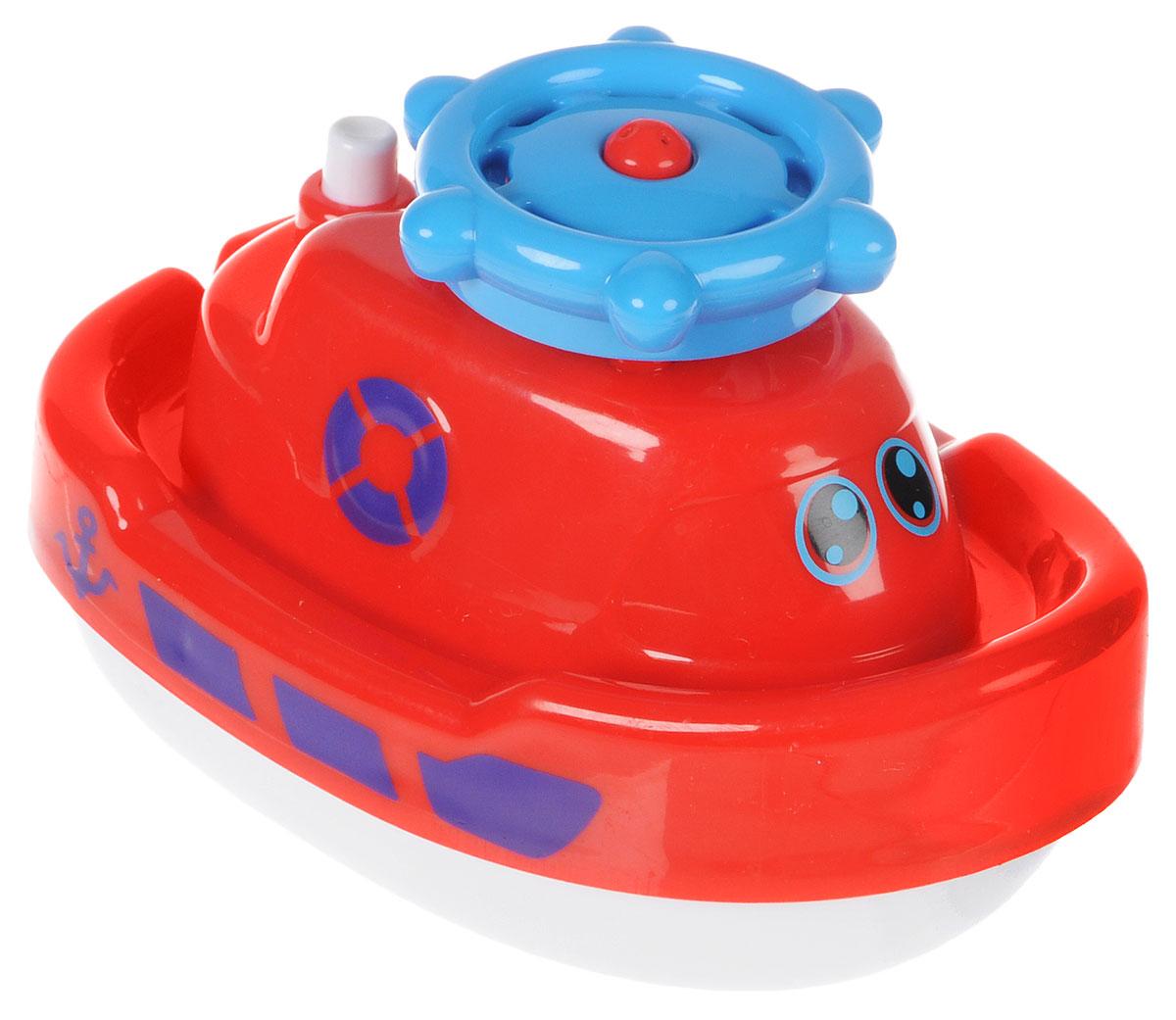 ABtoys Игрушка для ванной Кораблик-фонтан цвет красный