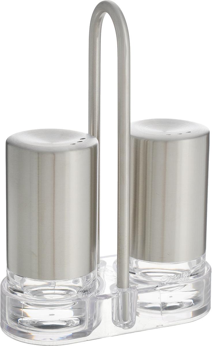 Набор для специй Emsa Accenta, 2 предмета507642Набор для специй Emsa Accenta состоит из солонки и перечницы. Предметы набора выполнены из высококачественного пластика и нержавеющей стали. Также в набор входит подставка, выполненная из нержавеющей стали и пластика. Солонка и перечница легки в использовании: стоит только перевернуть емкости, и вы с легкостью сможете поперчить или добавить соль по вкусу в любое блюдо. Набор для специй Emsa Accenta прекрасно оформит кухонный стол и станет незаменимым аксессуаром на любой кухне.Диаметр предметов: 4 см.Высота предметов: 8 см.Размер подставки: 10 см х 4,5 см х 14,5 см.
