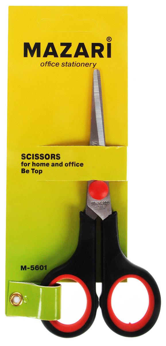 Mazari Ножницы Be Top цвет красный 14 смМ-5601_красный;М-5601_красныйКанцелярские ножницы - это предмет, которым мы пользуемся едва ли не ежедневно. Но, к сожалению, эта вещь часто ломается либо теряется в самый нужный момент.Ножницы Be Top станут прекрасным бытовым помощником для вас! Лезвия изготовлены из нержавеющей стали, а пластиковые ручки оснащены резиновыми вставками. Область применения таких ножниц достаточно широка: их можно использовать дома, в школе, на работе для разрезания любых видов бумаги и картона.