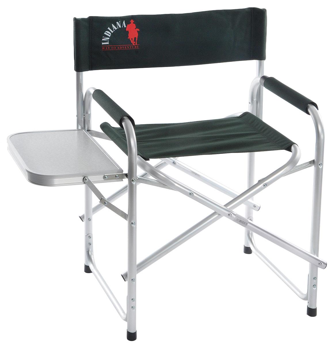 """Складное кресло Indiana """"INDI-025T"""" - идеальный вариант для дачников и рыболовов, прекрасно подходит для кемпинга, пикников и отдыха на природе.  Каркас кресла выполнен из алюминиевой трубы. Тканевые элементы кресла изготовлены из стойкого к ультрафиолетовому излучению материала - плотного полиэстера 600D. Мягкие профилированные подлокотники оснащены защитным чехлом. Сбоку имеется откидной столик.  Конструкция ножек с поперечной трубой придает дополнительную устойчивость креслу, препятствует его проваливанию в песок или рыхлую землю.  Кресло легко складывается и раскладывается. В сложенном состоянии занимает минимум места, что очень удобно при хранении и транспортировке.  Максимальная нагрузка: 120 кг.  Размер кресла (в разобранном виде): 44 см х 62 см х 80 см.  Размер кресла (в собранном виде): 46 см х 79 см х 10 см.  Размер откидного столика: 37 см х 25 см."""