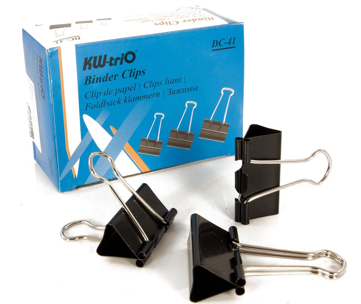 KW-Тrio Зажим для бумаг цвет черный 41 мм 12 штDC-41Зажим для бумаг KW-Тrio предназначен для скрепления бумажных носителей. Зажим выполнен из металла.В упаковке 12 зажимов черного цвета. Они надежно и легко скрепляют, не деформируют бумагу, не оставляют на ней следов.