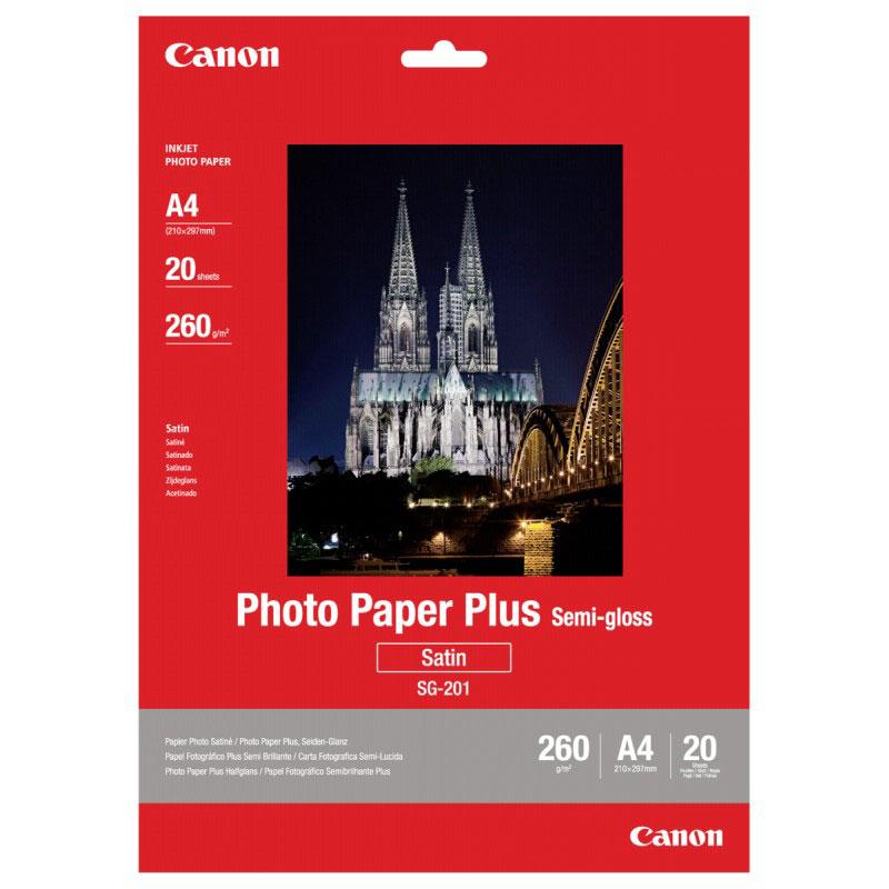 Canon SG-201 260/A4/20л Photo Paper Plus Semi-Gloss (1686B021)1686B021Полуглянцевая фотобумага Canon SG-201 A4 с полимерным покрытием предназначена для получения фотографий высокого качества. Обладает повышенной толщиной и плотностью, по структуре сравнима с традиционной фотобумагой.