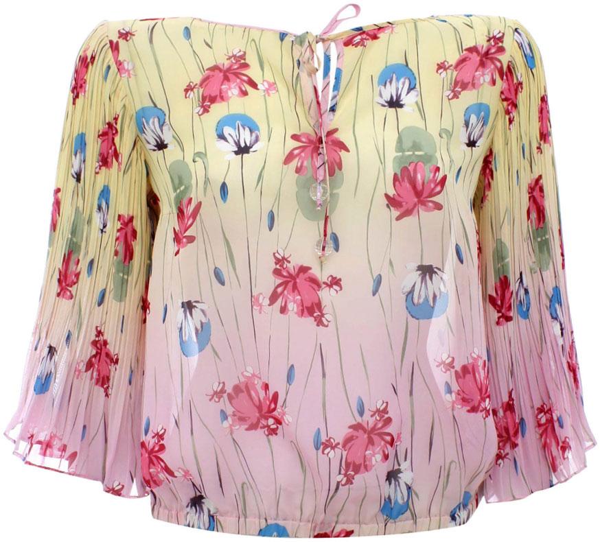 Блузка женская oodji Ultra, цвет: светло-желтый, светло-розовый. 11400351M/15018/5040F. Размер 38-170 (44-170)11400351M/15018/5040FБлузка oodji изготовлена из качественной струящейся ткани. Модель с круглым вырезом дополнена сверху удобными завязками. Блузка свободного кроя снизу дополнена утяжкой.