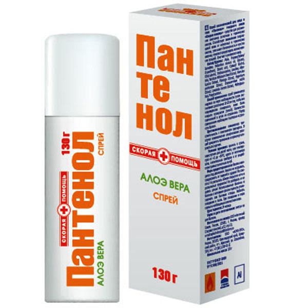 Скорая помощь Пантенол Алоэ спрей, 130 г55-12137Действие и эффективность спрея «Пантенол с Алоэ Вера» обусловлены сочетанием натуральных активных компонентов:Д-Пантенол (декспантенол) – высокоэффективное противоожоговое средство, провитамин пантотеновой кислоты (витамин В5). Он является составной частью мембран всех здоровых клеток. Обеспечивает клетки энергией и питательными веществами, способствует выработке антител, оказывает противовоспалительное действие, стимулирует рост и восстановление клеток. Благодаря низкой молекулярной массе, гидрофильности и низкой полярности, проникает во все слои кожи, стимулирует регенерацию тканей, значительно ускоряя заживление поврежденной кожи. Нормализует клеточный метаболизм, активизирует синтез коллагена и повышает прочность коллагеновых волокон, стимулирует рост здоровых клеток.Алоэ Вера - обладает уникальными регенерирующими свойствами за счёт содержания в нём 18 из 22 необходимых аминокислот – строительный материал для клетки. Алоэ вера обладает успокаивающим действием для загорелой кожи, благодаря содержанию витаминов Е, С, группы В и бета-каротина.Аллантоин – оказывает двойное воздействие на кожу: смягчает роговой слой и ускоряет регенерацию тканей.Ланолин – натуральный воск животного происхождения, по составу близкий к кожному жиру человека. Увлажняет, смягчает и питает кожу, защищает от неблагоприятных внешних воздействий, значительно ускоряет регенерацию клеток.