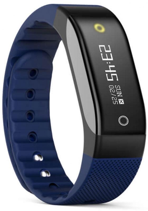 SMA Coach умный фитнес-браслет, BlueSCH01-BlueSMA Coach - это фитнес-трекер со встроенным датчиком сердечного ритма и функциями смарт-часов. Следите за своим здоровьем и оставайтесь на связи: получайте информацию о звонках, СМС, уведомления и напоминаниях прямо на экран устройства на русском языке.Фитнес-браслет обладает RGB дисплеем с диагональю 0,88 дюймов, на котором отображаются время, уведомления и данные вашей физической активности. Для управления используется сенсорная кнопка, расположенная под экраном. На задней стороне устройства можно обнаружить датчик ЧСС и магнитную площадку для зарядки.Данный браслет может использоваться для определения количества шагов, пройденного расстояния, частоты сердечных сокращений и израсходованных калорий. Кроме того, в нем предусмотрена функция мониторинга сна.Универсальный ремешок подходит для запястья от 145 до 210 мм в обхвате.Класс защиты: IP65Диагональ: 0,88