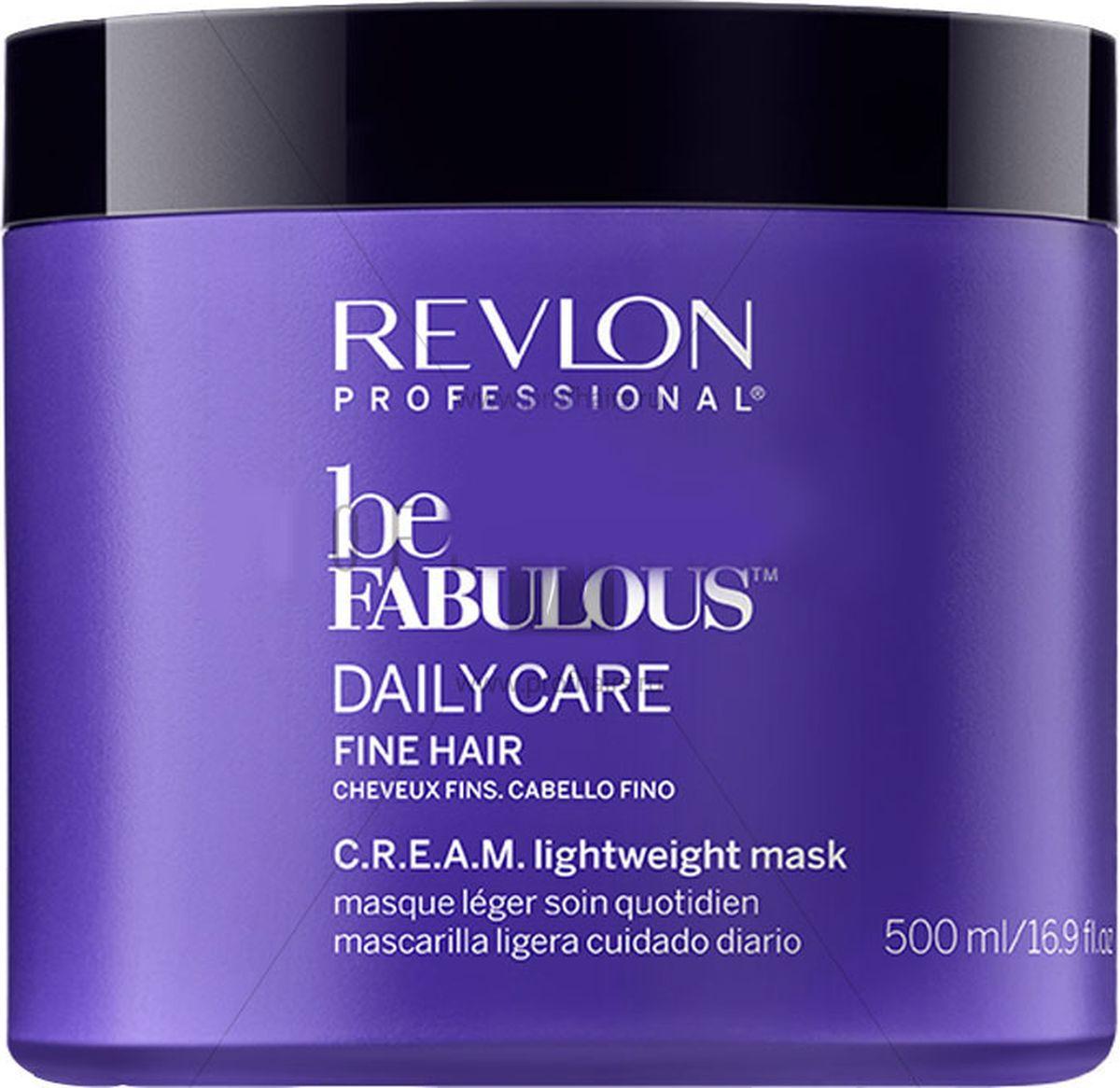 Revlon Professional Be Fabulous C.R.E.A.M. Mask For Fine Hair Маска для тонких волос, 500 мл7222477000Мультиухаживающая маска для тонких волос испанского бренда Revlon Professioanal. Содержит QUATERNIUM-22, кератин, пантенол, витамин Е и бетаин. Предназначена для частого применения, обладает мультиухаживающим эффектом: обеспечивает сохранение цвета (за счет комплекса УФ-фильтров), восстановление (кератин в составе), блеск без утяжеления (благодаря пантенолу), антивозрастной эффект (витамин Е) и увлажнение (бетаин). Имеет приятное сочетание ароматов бергамота, мускуса, фрезии.Применение: нанести небольшой объем маски для тонких волос Revlon, оставить на 3-5 минут, тщательно промыть теплой водой. Для достижения эффекта профессионально ухоженных сияющих волос рекомендуется дополнительное использование очищающего шампуня и кондиционера для тонких волос серии Be Fabulous Cream Revlon.Объем: 500 мл