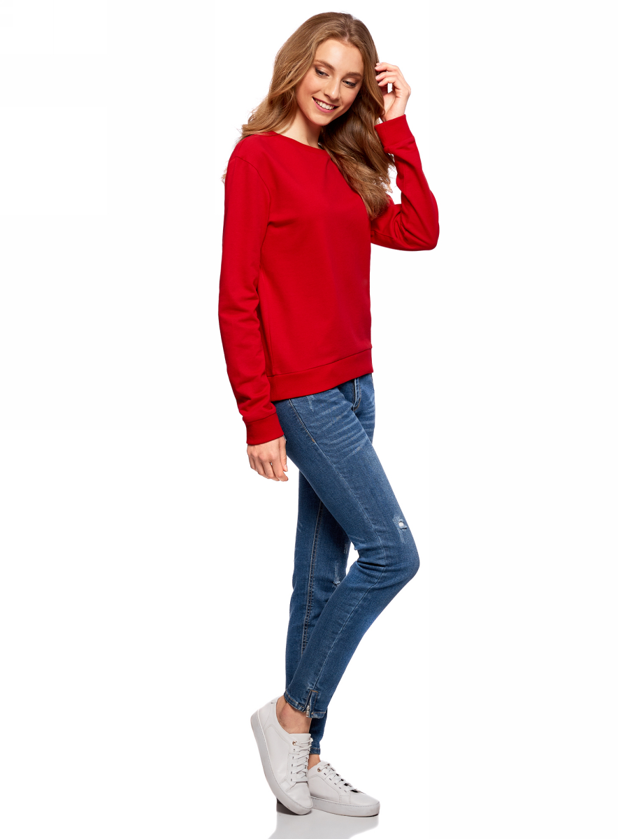 Джемпер женский oodji Ultra, цвет: красный. 14808015/46151/4500N. Размер XXS (40) болеро oodji ultra цвет красный 14607001 1 24438 4500n размер xxs 40