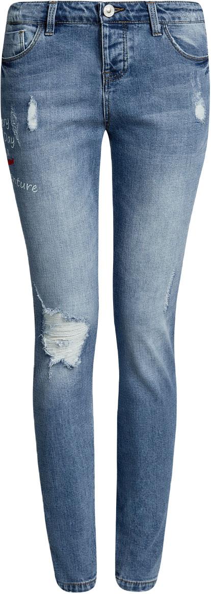 Джинсы женские oodji Ultra, цвет: синий джинс. 12106146/46787/7500W. Размер 27-30 (44-30)12106146/46787/7500WЖенские джинсы oodji выполнены из высококачественного материала на основе хлопка. Джинсы застегиваются на пуговицу в поясе и ширинку на застежке-молнии, дополнены шлевками для ремня. Спереди модель дополнена двумя втачными карманами, одним маленьким накладным, а сзади - двумя накладными карманами. Изделие дополнено декоративными потертостями, надписями и рваным эффектом.