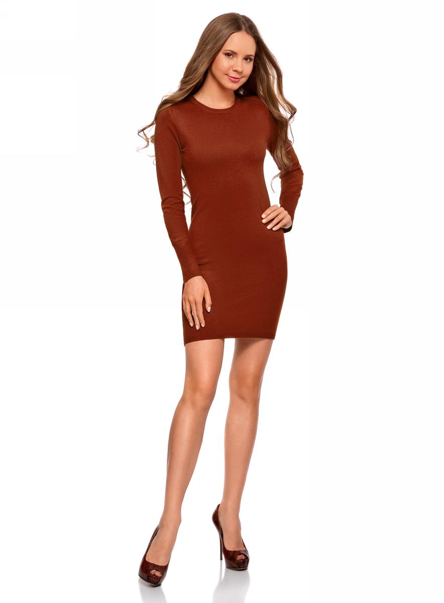 Платье oodji Collection, цвет: бордовый. 73912217-2B/33506/4900N. Размер M (46)73912217-2B/33506/4900NВязаное базовое платье от oodji выполнено из вискозной пряжи с добавлением полиамида. Модель длины мини с длинными рукавами и круглым вырезом горловины.