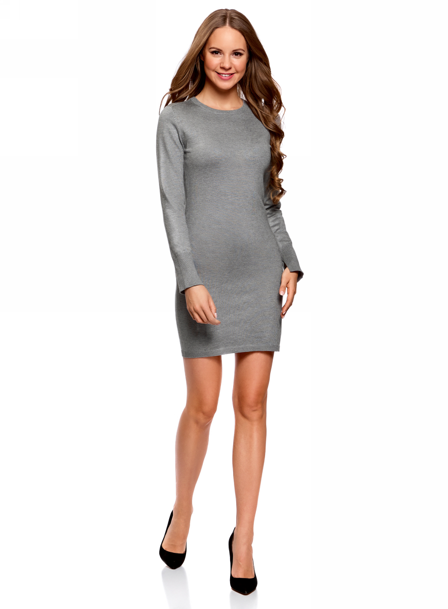 Платье oodji Collection, цвет: серый меланж. 73912217-2B/33506/2300M. Размер XXL (52)73912217-2B/33506/2300MВязаное базовое платье от oodji выполнено из вискозной пряжи с добавлением полиамида. Модель длины мини с длинными рукавами и круглым вырезом горловины.