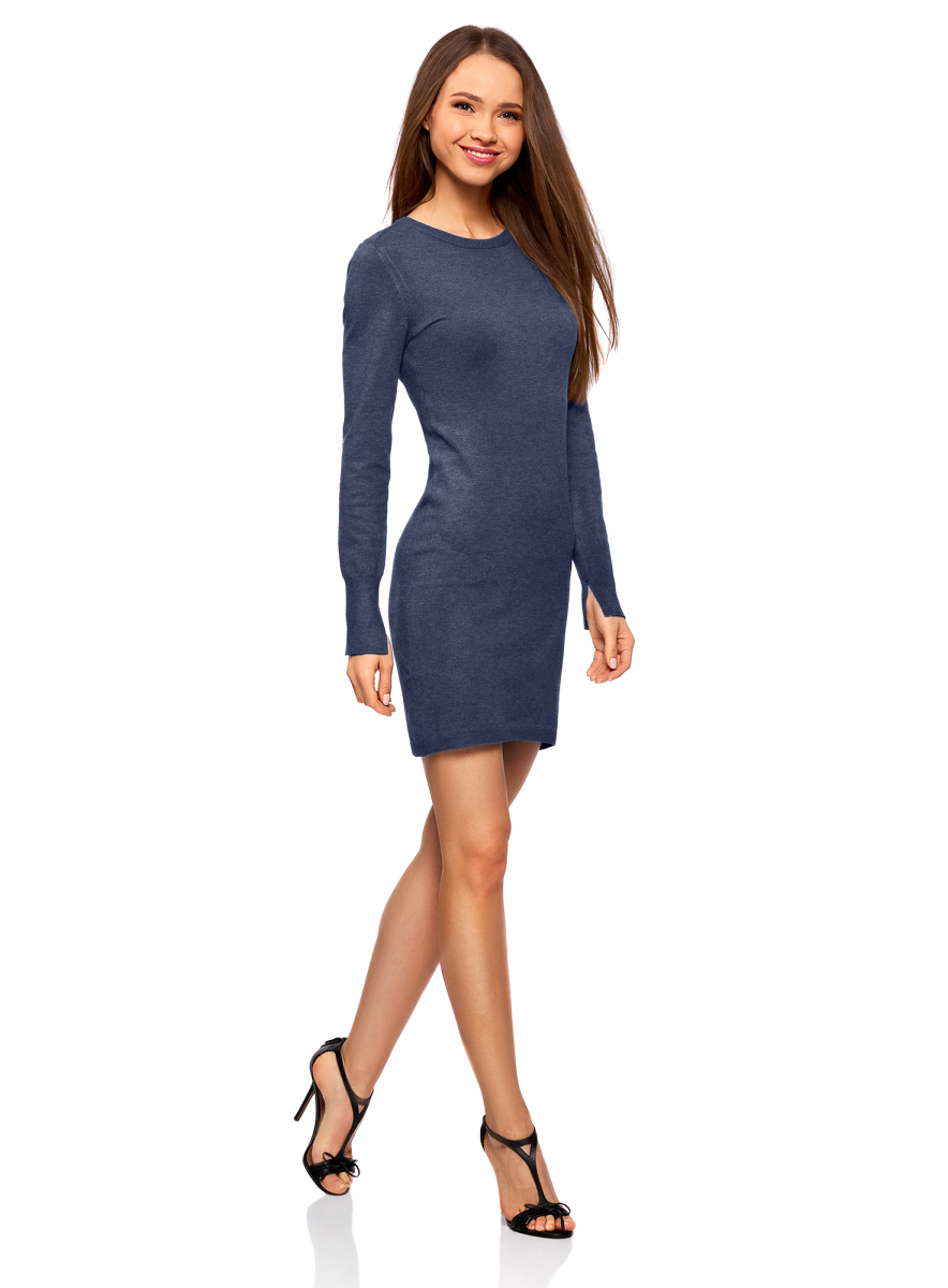 Платье oodji Collection, цвет: синий меланж. 73912217-2B/33506/7500M. Размер XL (50)73912217-2B/33506/7500MВязаное базовое платье от oodji выполнено из вискозной пряжи с добавлением полиамида. Модель длины мини с длинными рукавами и круглым вырезом горловины.