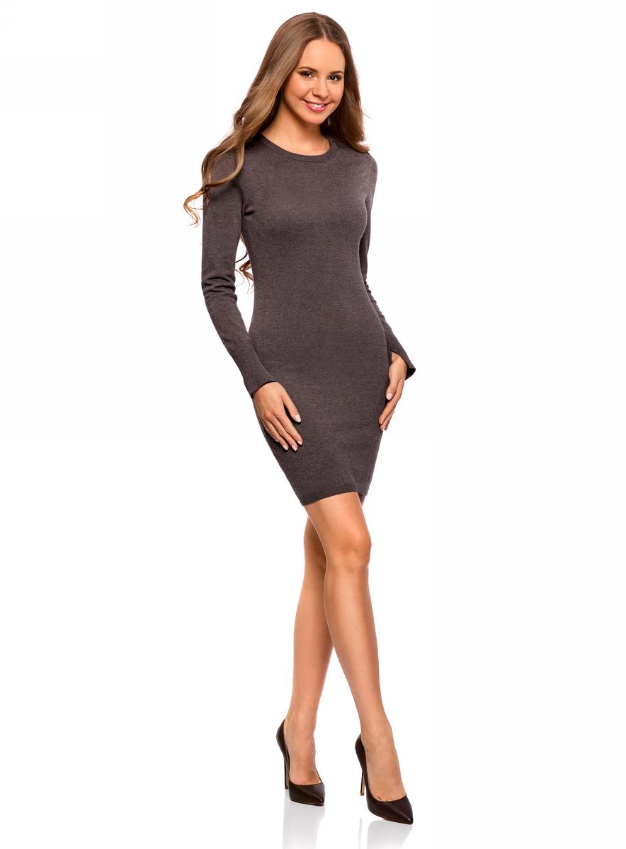 Платье oodji Collection, цвет: темно-коричневый меланж. 73912217-2B/33506/3900M. Размер XL (50)73912217-2B/33506/3900MВязаное базовое платье от oodji выполнено из вискозной пряжи с добавлением полиамида. Модель длины мини с длинными рукавами и круглым вырезом горловины.