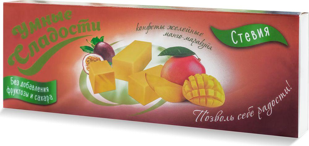 Умные сладости конфеты желейные без сахара со вкусом манго-маракуйя, 90 г умные сладости зефир без сахара и глютена со скусом клубника со сливками 50 г