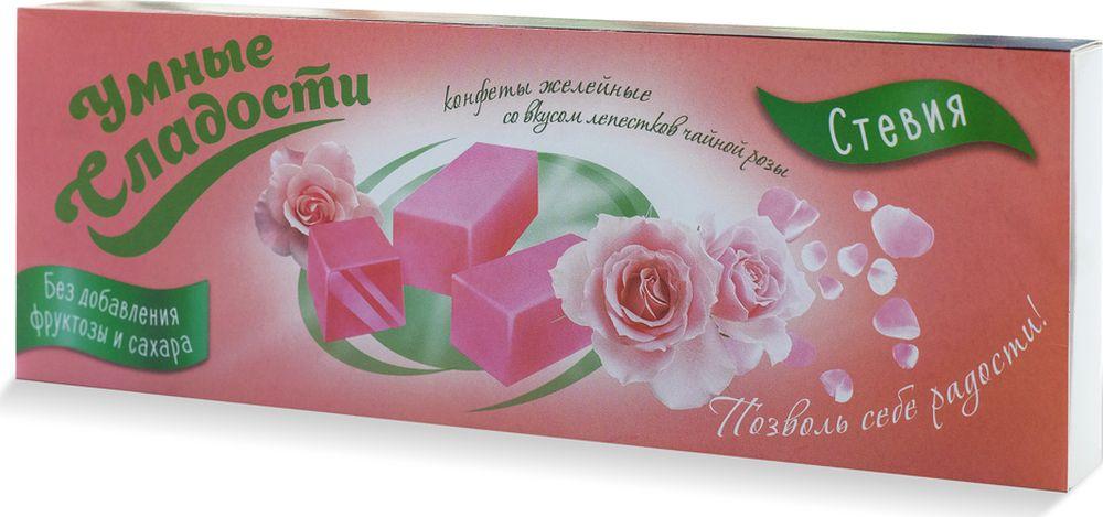 Умные сладости конфеты желейные без сахара со вкусом лепестков чайной розы, 90 г4603725964686Конфеты желейные без сахара и глютена. Подходят для диетического питания.