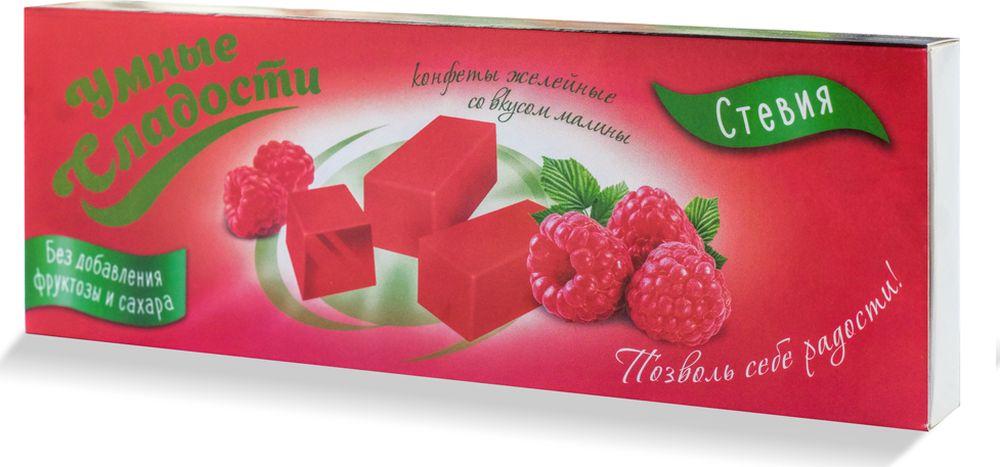 Умные сладости конфеты желейные без сахара со вкусом малины, 90 г умные сладости зефир без сахара и глютена со скусом клубника со сливками 50 г
