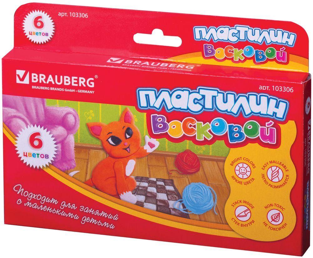 Brauberg Пластилин восковой 6 цветов103306Пластилин Brauberg на основе воска для малышей от 3 лет. Обладает повышенной мягкостью и пластичностью. Подходит не только для лепки, но и для создания объемных картин на бумаге или доске для лепки.
