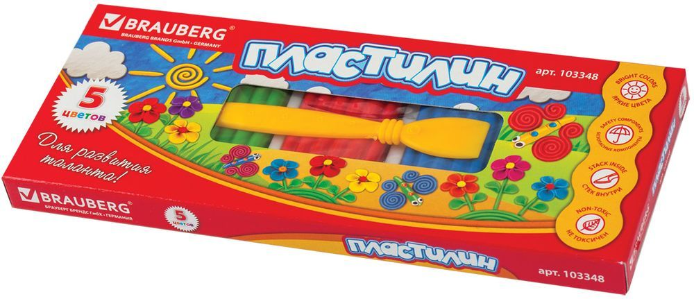Brauberg Пластилин 5 цветов 125 г103348Пластилин Brauberg способствует развитию мелкой моторики у ребенка, творческих способностей, получению положительных эмоций. Обладает высоким качеством, прекрасными пластичными свойствами и мягкостью. Легко принимает нужную форму, имеет яркие, насыщенные цвета.
