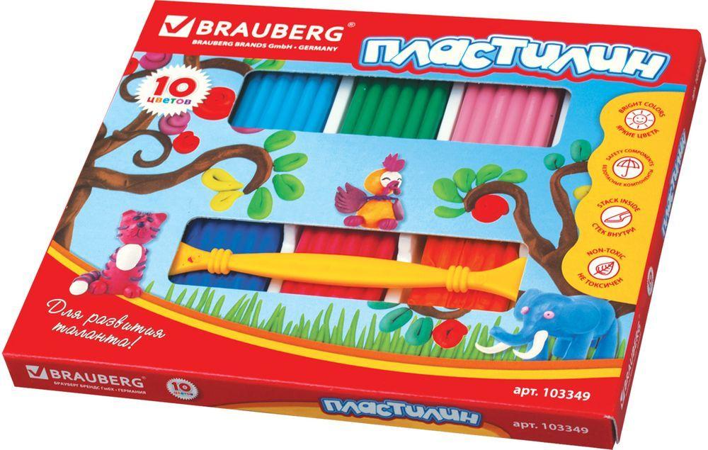 Brauberg Пластилин 10 цветов 250 г103349Пластилин Brauberg способствует развитию мелкой моторики у ребенка, творческих способностей, получению положительных эмоций. Обладает высоким качеством, прекрасными пластичными свойствами и мягкостью. Легко принимает нужную форму, имеет яркие, насыщенные цвета.