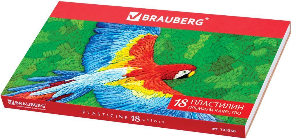 Brauberg Пластилин 18 цветов 360 г103358Пластилин Brauberg предназначен для лепки и моделирования. Способствует развитию мелкой моторики у ребенка, творческих способностей, получению положительных эмоций. Высшее качество обеспечивает прекрасные пластичные свойства, мягкость, яркие насыщенные цвета.