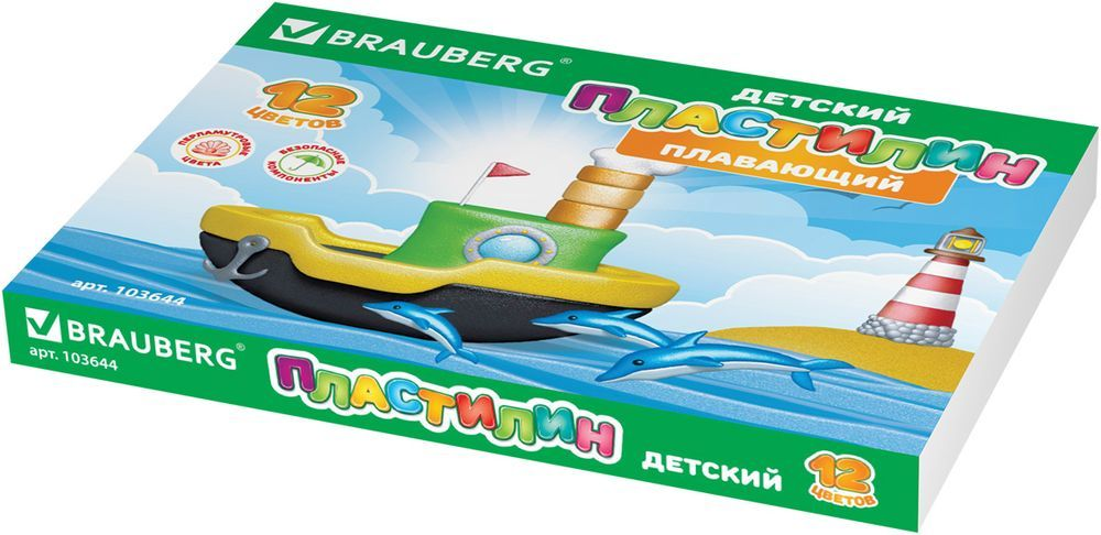 Brauberg Пластилин 12 цветов 144 г103644Пластилин Brauberg, помимо развивающих функций, используется в качестве игрушки. Отлично держится на воде благодаря легким наполнителям. Изготавливается из высококачественного сырья с добавлением перламутровых пигментов, придающих ярким цветам жемчужный блеск.