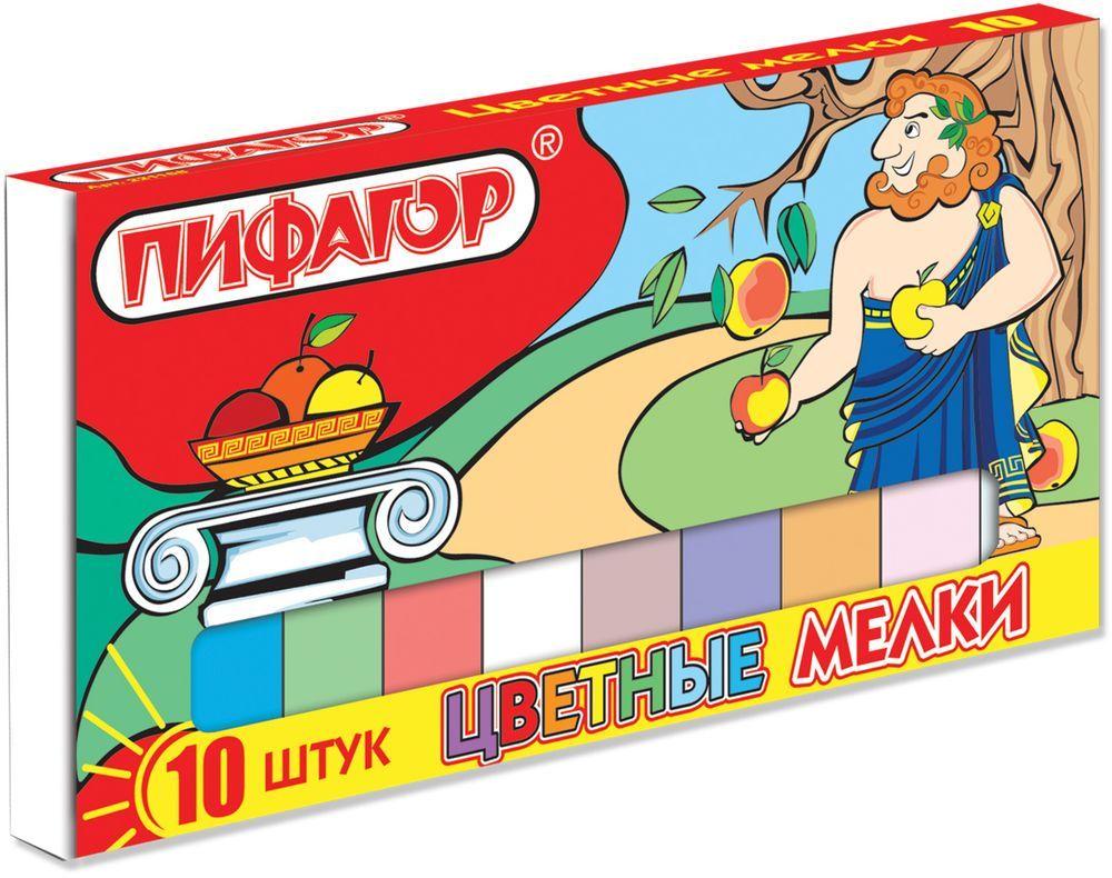 Пифагор Мелки цветные 10 цветов221168Высококачественный школьный мел Пифагор изготовлен из экологически чистых материалов.Не содержит твердых включений, не царапает поверхность досок.Грани мелков закруглены.