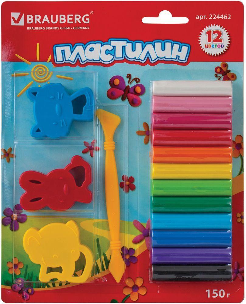 Brauberg Пластилин 12 цветов + 3 штампика224462Набор Brauberg состоит из пластилина высокого качества ярких цветов и формочек. Может использоваться в качестве игрушки. Способствует развитию мелкой моторики, творческих способностей, получению положительных эмоций. Пластилин очень мягок и пластичен.