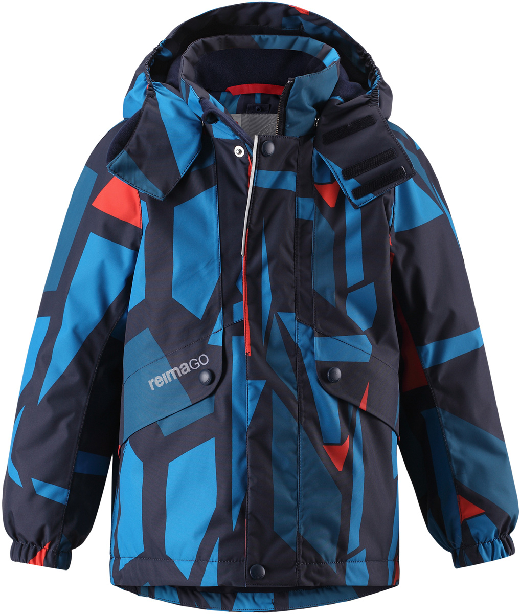 Куртка детская Reima Reimatec Elo, цвет: темно-синий, синий. 5215156981. Размер 1165215156981Детская абсолютно непромокаемая зимняя куртка Reimatec изготовлена из водо- и ветронепроницаемого, прочного и дышащего материала, который эффективно отталкивает грязь. Все швы проклеены, водонепроницаемы. В этой модели прямого покроя подол при необходимости легко регулируется, что позволяет подогнать куртку точно по фигуре. Съемный и регулируемый капюшон защищает от пронизывающего ветра и проливного дождя, а еще он безопасен во время игр на свежем воздухе. С помощью удобной системы кнопок Play Layers к этой куртке можно присоединять одежду промежуточного слоя Reima, которая подарит вашему ребенку дополнительное тепло и комфорт. В куртке предусмотрены два кармана на молнии, внутренний нагрудный карман, карман для сенсора ReimaGO и множество светоотражающих деталей.Средняя степень утепления.