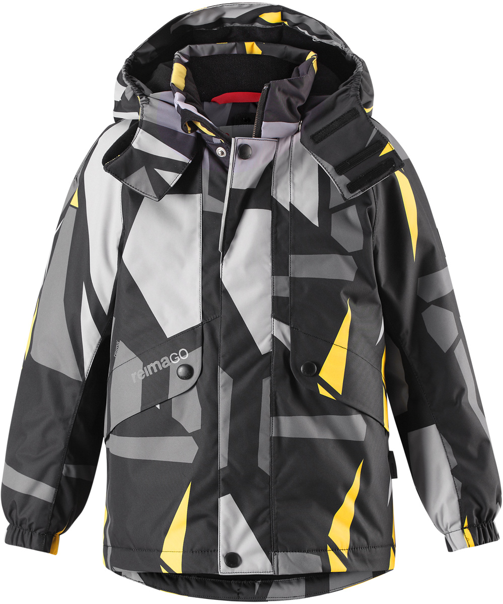 Куртка детская Reima Reimatec Elo, цвет: черный. 5215159992. Размер 1105215159992Детская абсолютно непромокаемая зимняя куртка Reimatec изготовлена из водо- и ветронепроницаемого, прочного и дышащего материала, который эффективно отталкивает грязь. Все швы проклеены, водонепроницаемы. В этой модели прямого покроя подол при необходимости легко регулируется, что позволяет подогнать куртку точно по фигуре. Съемный и регулируемый капюшон защищает от пронизывающего ветра и проливного дождя, а еще он безопасен во время игр на свежем воздухе. С помощью удобной системы кнопок Play Layers к этой куртке можно присоединять одежду промежуточного слоя Reima, которая подарит вашему ребенку дополнительное тепло и комфорт. В куртке предусмотрены два кармана на молнии, внутренний нагрудный карман, карман для сенсора ReimaGO и множество светоотражающих деталей.Средняя степень утепления.