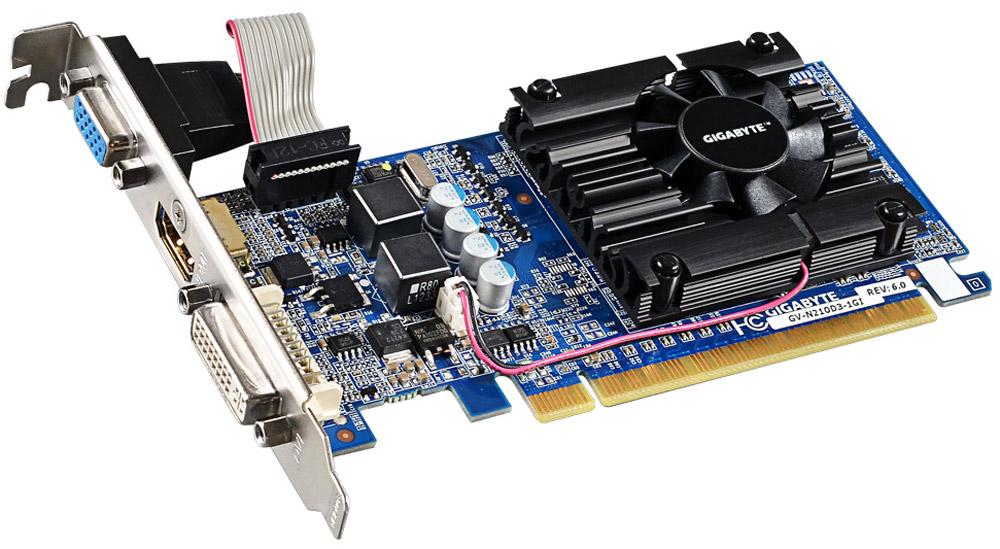 Gigabyte GeForce GF 210 1GB видеокарта (GV-N210D3-1GI)GV-N210D3-1GIВидеокарта Gigabyte PCI-E GV-N210D3-1GI NV GF210 1024Mb 64b DDR3 590/1200 DVIx1/HDMIx1/CRTx1/HDCP ReКак собрать игровой компьютер. Статья OZON Гид