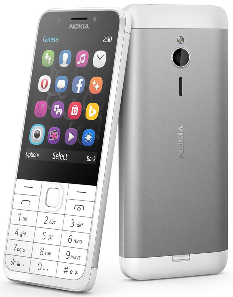 Nokia 230 Dual Sim, White SilverA00026972Nokia 230 Dual Sim - это изящный телефон с функцией съемки автопортретов, сочетающий в себе фронтальную камеру 2 Мпикс со светодиодной вспышкой и матовую алюминиевую заднюю панель, которая элегантно облегает телефон.Благодаря фронтальной камере 2 Мпикс и специальной клавише для включения режима селфи, Nokia 230 Dual Sim готов к съемке веселых моментов вашей жизни. Рядом с фронтальной камерой расположена светодиодная вспышка, позволяющая делать автопортреты вечером и ночью, а с помощью популярных приложений для соцсетей, напримерFacebook и Twitter, вы сможете легко поделиться своими фото с другими.Прочный корпус из поликарбоната, алюминиевая задняя панель с матовым покрытием и тонкий профиль - Nokia 230 Dual Sim идеально сочетает утонченный дизайн и непревзойденное качество сборки.Экран с диагональю 2,8 дюйма идеально подходит для съемки и демонстрации фотографий, проведения времени за играми и воспроизведения потокового видео. С помощью браузера Opera Mini, поисковой системы Bing и приложения MSN Погода вы быстро найдете полезную информацию и любимые сайты.Nokia 230 Dual Sim оснащается встроенной вспышкой и FM-радио. Каждый месяц на протяжении года вы можете загружать по одной игре Gameloft бесплатно, а с учетом разнообразия приложений, предлагаемых магазином Opera, вы получаете фантастические возможности по умеренной цене.Телефон сертифицирован Ростест и имеет русифицированный интерфейс меню, а также Руководство пользователя.