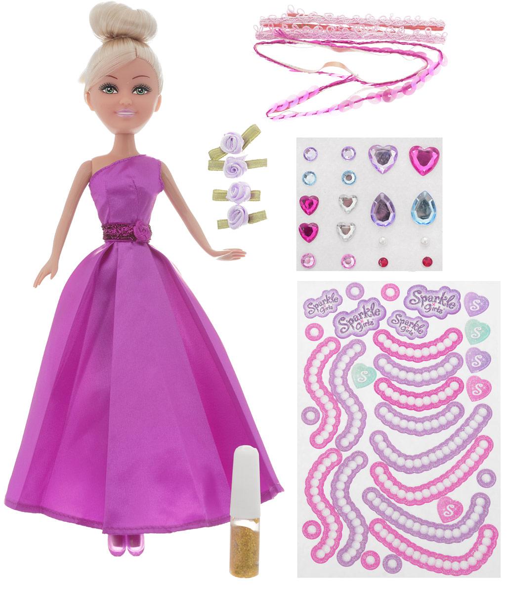 Funville Игровой набор с куклой Sparkle Girlz с аксессуарами для украшения платья цвет платья малиновый