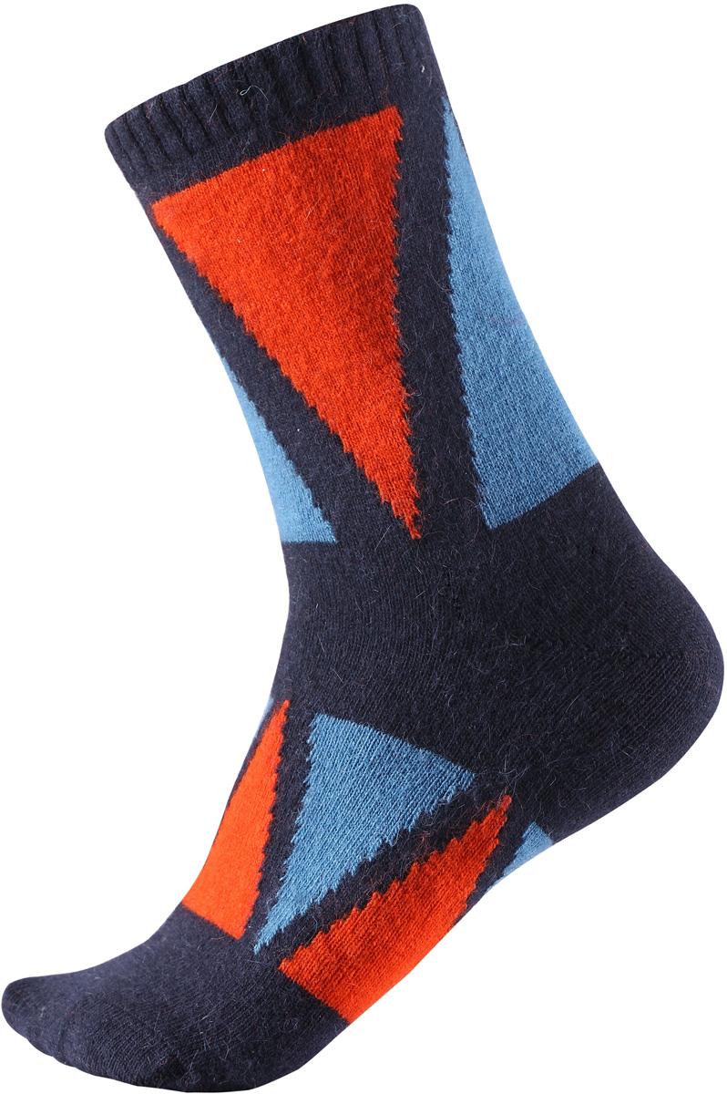 Носки детские Reima Savo, цвет: синий. 5272716980. Размер 225272716980Яркие длинные детские носки из шерстяного трикотажа от Reima - отличный выбор для любителей активных прогулок. Носки изготовлены из теплой и мягкой ангорской полушерсти и превосходно регулируют температуру, особенно в морозные зимние дни. Эластичный шерстяной трикотаж отлично пропускает воздух и быстро сохнет, поэтому ребенку будет максимально комфортно во время веселых прогулок. Облегченная модель без усилений на подошве.