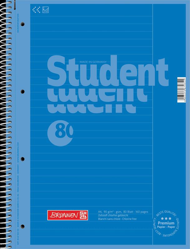 Brunnen Тетрадь Stewo Student 80 листов в клетку цвет голубой67928-33\BCDТетрадь Stewo Student прекрасно подойдет для студентов. Обложка тетради выполнена из плотного картона. Внутренний блок тетради, соединенный спиралью, состоит из 80 листов белой бумаги в клетку. Блок бумаги имеет микроперфорацию и отверстия для подшивки.